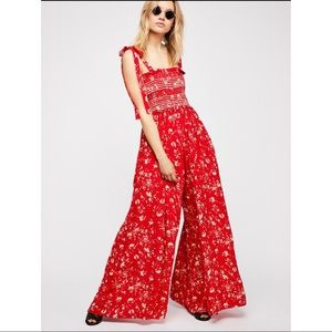NWT Free People Color My World Jumpsuit red xs